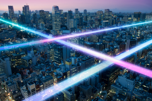 Digital Composite「Light trails above buildings」:スマホ壁紙(0)