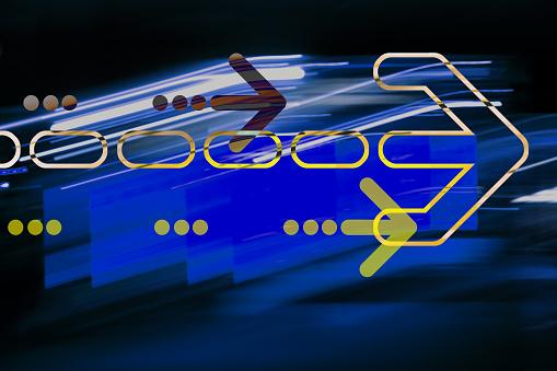 Quantum Computing「Graphic arrow on abstract background」:スマホ壁紙(11)