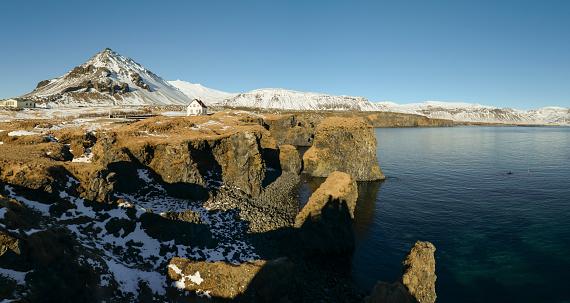 Arnarstapi「Iceland, Panoramic view of Arnarstapi cliffs」:スマホ壁紙(0)