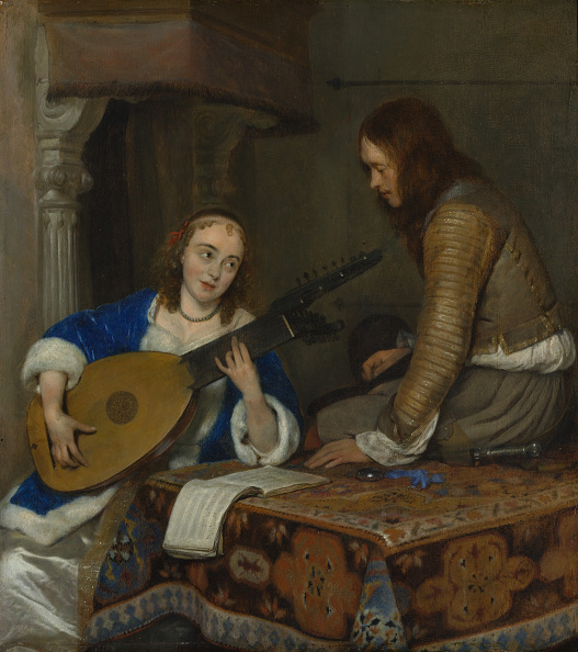 17th Century「A Woman Playing The Theorbo-Lute And A Cavalier」:写真・画像(5)[壁紙.com]