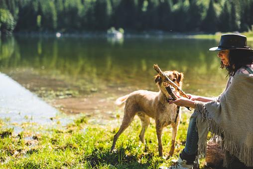 アケビ「山で犬と遊ぶ女性」:スマホ壁紙(19)