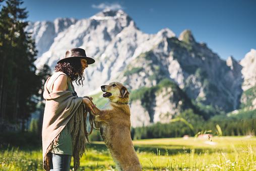 アケビ「山で犬と遊ぶ女性」:スマホ壁紙(13)