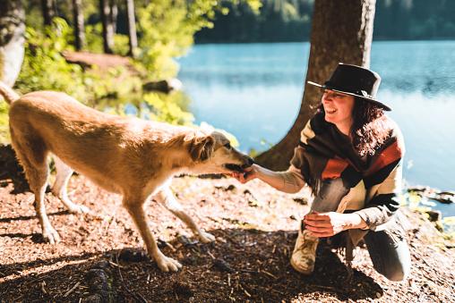 アケビ「山で犬と遊ぶ女性」:スマホ壁紙(3)