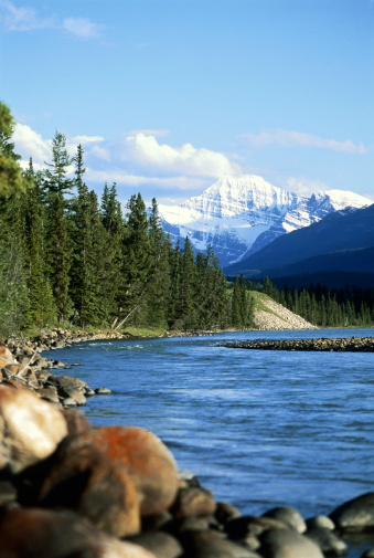 Mt Athabasca「Canada,Alberta,Jasper National Park,Athabasca river and mountains」:スマホ壁紙(13)