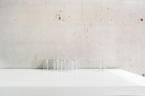 Concrete「Water glasses against concrete wall」:スマホ壁紙(18)