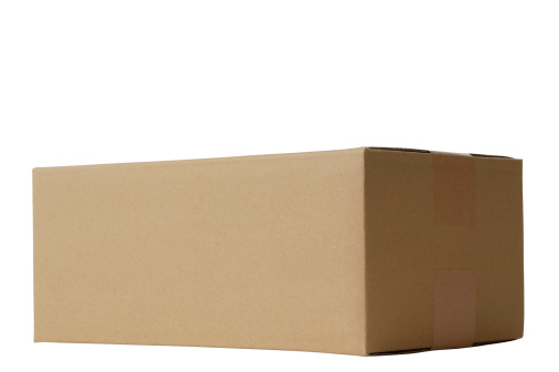 Side View「Isolated shot of closed blank cardboard box on white background」:スマホ壁紙(1)