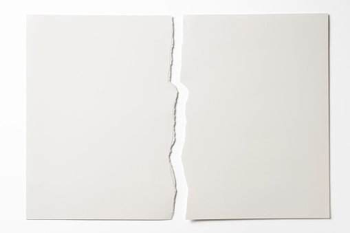 Cut Or Torn Paper「Isolated shot of torn white paper on white background」:スマホ壁紙(6)