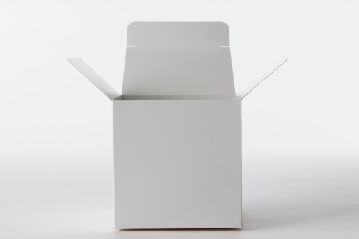 Front View「Isolated shot of opened blank cube box on white background」:スマホ壁紙(0)