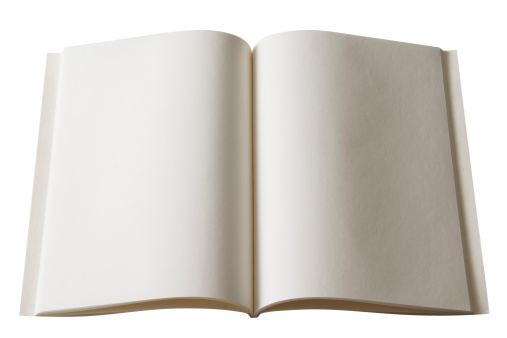 Paperback「Isolated shot of opened blank book on white background」:スマホ壁紙(19)