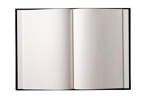 Textbook「Isolated shot of opened blank book on white background」:スマホ壁紙(8)