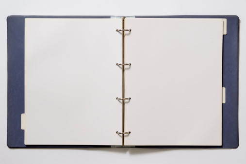 Spiral Notebook「Isolated shot of opened blank ring binder on white background」:スマホ壁紙(9)