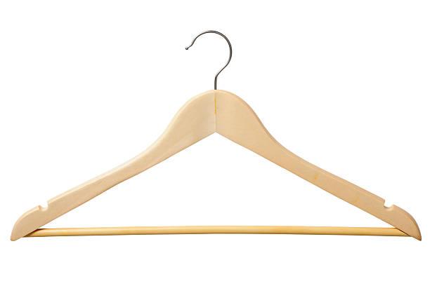 Isolated shot of wooden coat hanger on white background:スマホ壁紙(壁紙.com)