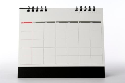 Calendar「Isolated shot of blank desktop calendar on white background」:スマホ壁紙(9)