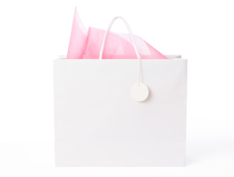 Gift「Isolated shot of  blank shopping bag with tag on white」:スマホ壁紙(1)
