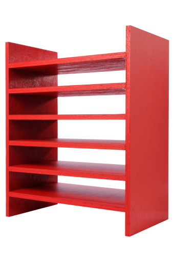 Storage Compartment「Isolated shot of red wooden shelf on white background」:スマホ壁紙(5)