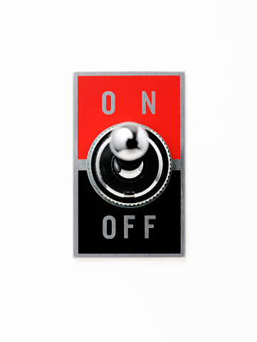 Start Button「Isolated shot of ON OFF switch on white background」:スマホ壁紙(7)