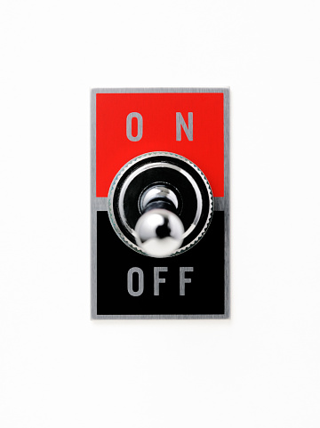 Start Button「Isolated shot of ON OFF switch on white background」:スマホ壁紙(9)