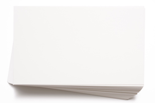 Letter - Document「Isolated shot of stacked blank white cards on white background」:スマホ壁紙(3)
