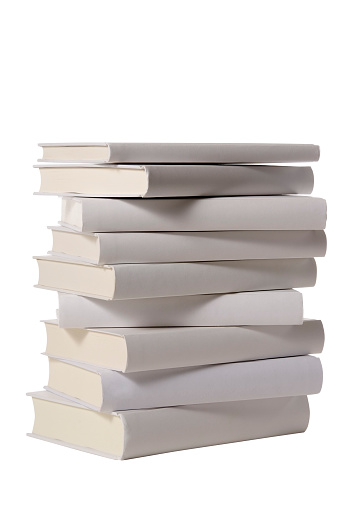 Book Spine「Isolated shot of stacked blank books on white background」:スマホ壁紙(19)