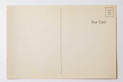 Letter - Document「Isolated shot of old blank post card on white background」:スマホ壁紙(8)
