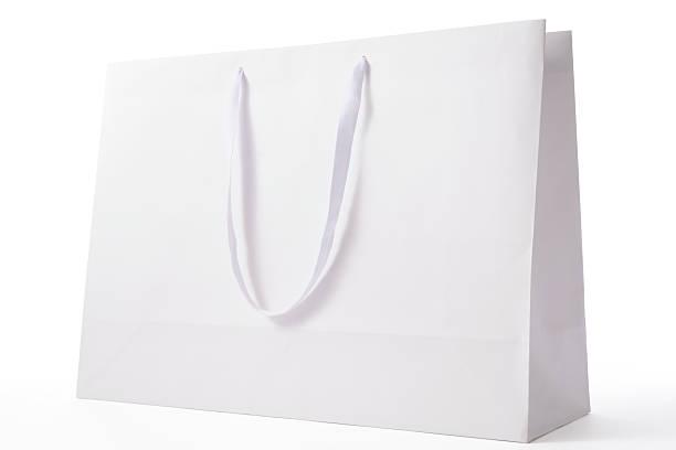Isolated shot of white blank shopping bag on white background:スマホ壁紙(壁紙.com)