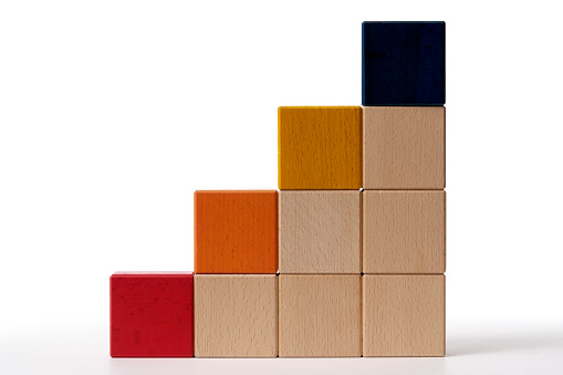 Leisure Games「Isolated shot of bar chart from blocks on white background」:スマホ壁紙(15)
