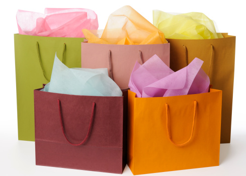 Gift「Isolated shot of colorful shopping bags on white background」:スマホ壁紙(8)