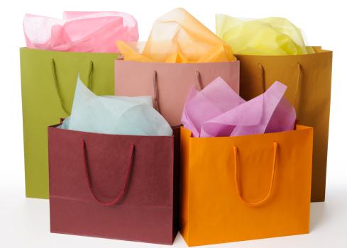グッディバッグ「絶縁ショットのカラフルな背景に白のショッピングバッグ」:スマホ壁紙(13)