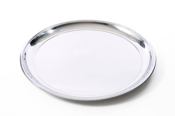 Isolated shot of silver tray on white background:スマホ壁紙(壁紙.com)