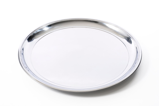 Silver Colored「Isolated shot of silver tray on white background」:スマホ壁紙(16)
