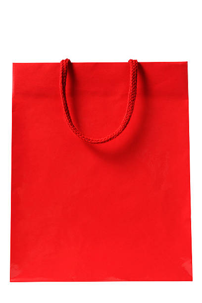 Isolated shot of blank red shopping bag on white background:スマホ壁紙(壁紙.com)