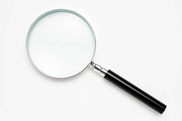 Isolated shot of magnifying glass on white background:スマホ壁紙(壁紙.com)