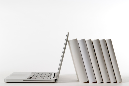 Standing「Isolated shot of laptop leaning blank books on white background」:スマホ壁紙(1)