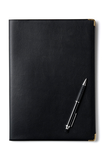 Diary「Isolated shot of black notebook with pen on white background」:スマホ壁紙(9)