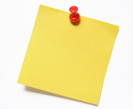 Sticky「Isolated shot of blank yellow sticky note with red thumbtack」:スマホ壁紙(17)