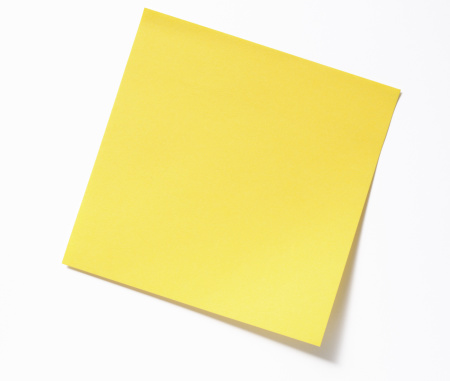 Note - Message「Isolated shot of blank yellow sticky note on white background」:スマホ壁紙(17)