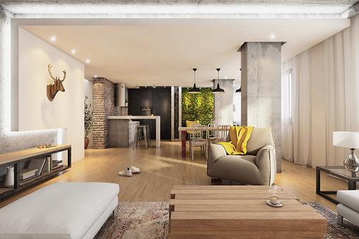 USA「Modern hipster apartment interior living room」:スマホ壁紙(12)