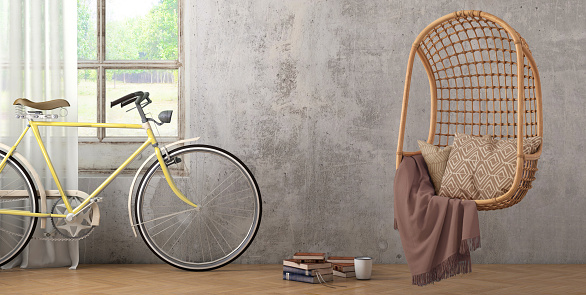 Template「Modern hipster interior with pendant chair window and curtains with copy space wall」:スマホ壁紙(5)