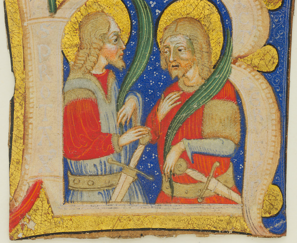 R「Manuscript Leaf Cutting Showing An Illumiated Initial R With St. Protasius And St. Gervasius」:写真・画像(4)[壁紙.com]