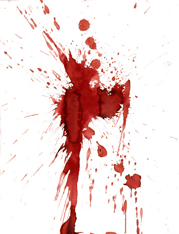 Horror「Red blood splatter stain on white background」:スマホ壁紙(1)