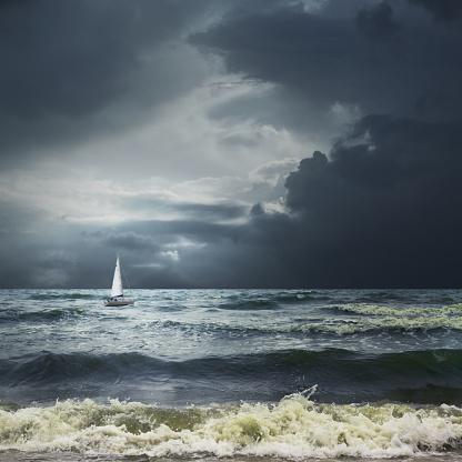 Nautical Vessel「Storm sea landscape with white ship」:スマホ壁紙(16)