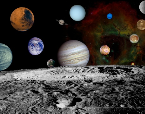 Solar System「This montage of images taken by the Voyager spacecraft of the planets and four of Jupiter's moons is set against a false-color Rosette Nebula with Earth's moon in the foreground.」:スマホ壁紙(12)