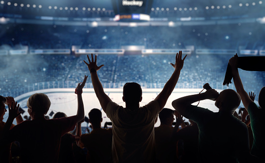 Sports League「Fanatical hockey fans at a stadium」:スマホ壁紙(2)