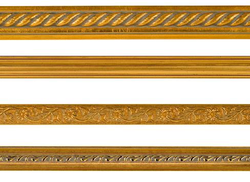 Moulding - Trim「Gold Border and Edge Design Elements, White Isolated」:スマホ壁紙(8)