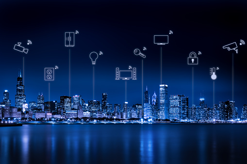 Smart City「Chicago city skyline with internet of things」:スマホ壁紙(15)