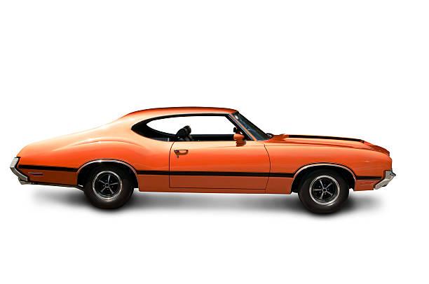 Orange Muscle Car - Side View:スマホ壁紙(壁紙.com)