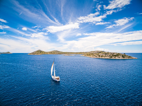 Mediterranean Sea「Sailing with sailboat, view from drone」:スマホ壁紙(15)