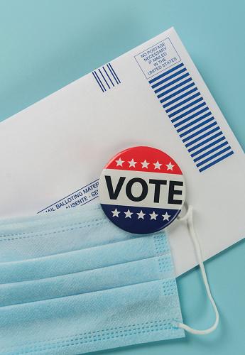 Voting Ballot「Envelope, election pin and face mask against blue」:スマホ壁紙(12)