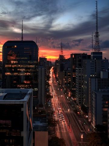 São Paulo「Sunset at Avenida Paulista」:スマホ壁紙(19)