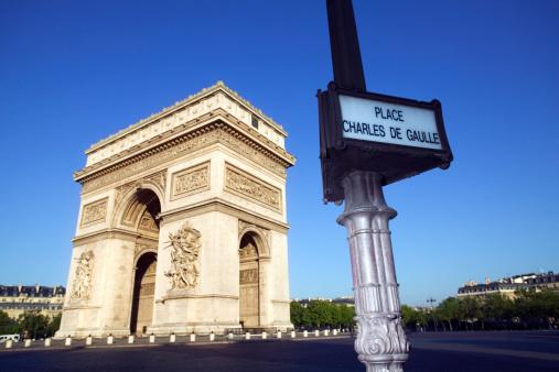 Arc de Triomphe - Paris「Arc de Triomphe and Place Charles de Gaulle street sign, Paris」:スマホ壁紙(4)